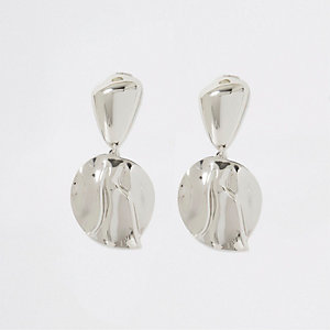 Silver colour shell battered drop earrings