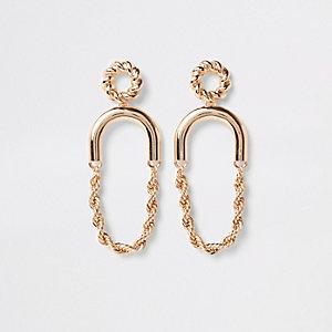 Gold colour twist hoop drop earrings