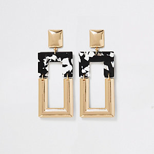 Gold colour mono print square drop earrings