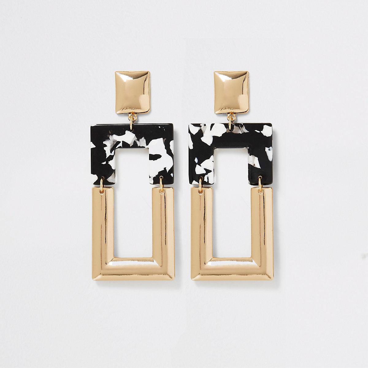 Gold color mono print square drop earrings