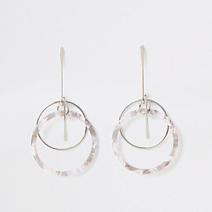 Silver colour resin ring drop earrings