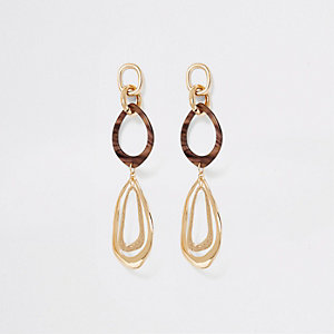 Gold colour resin large drop down earrings
