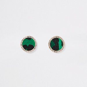 Green leopard print stud earrings