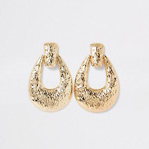 Gold colour textured doorknocker earrings