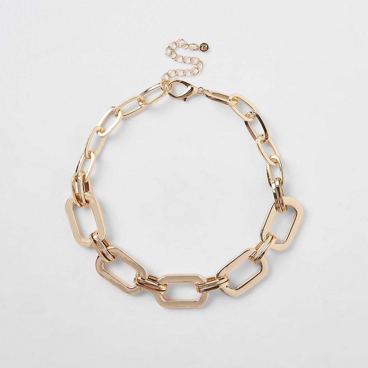 Gold color rectangular chain necklace