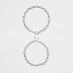 Silver colour chain link T bar necklace