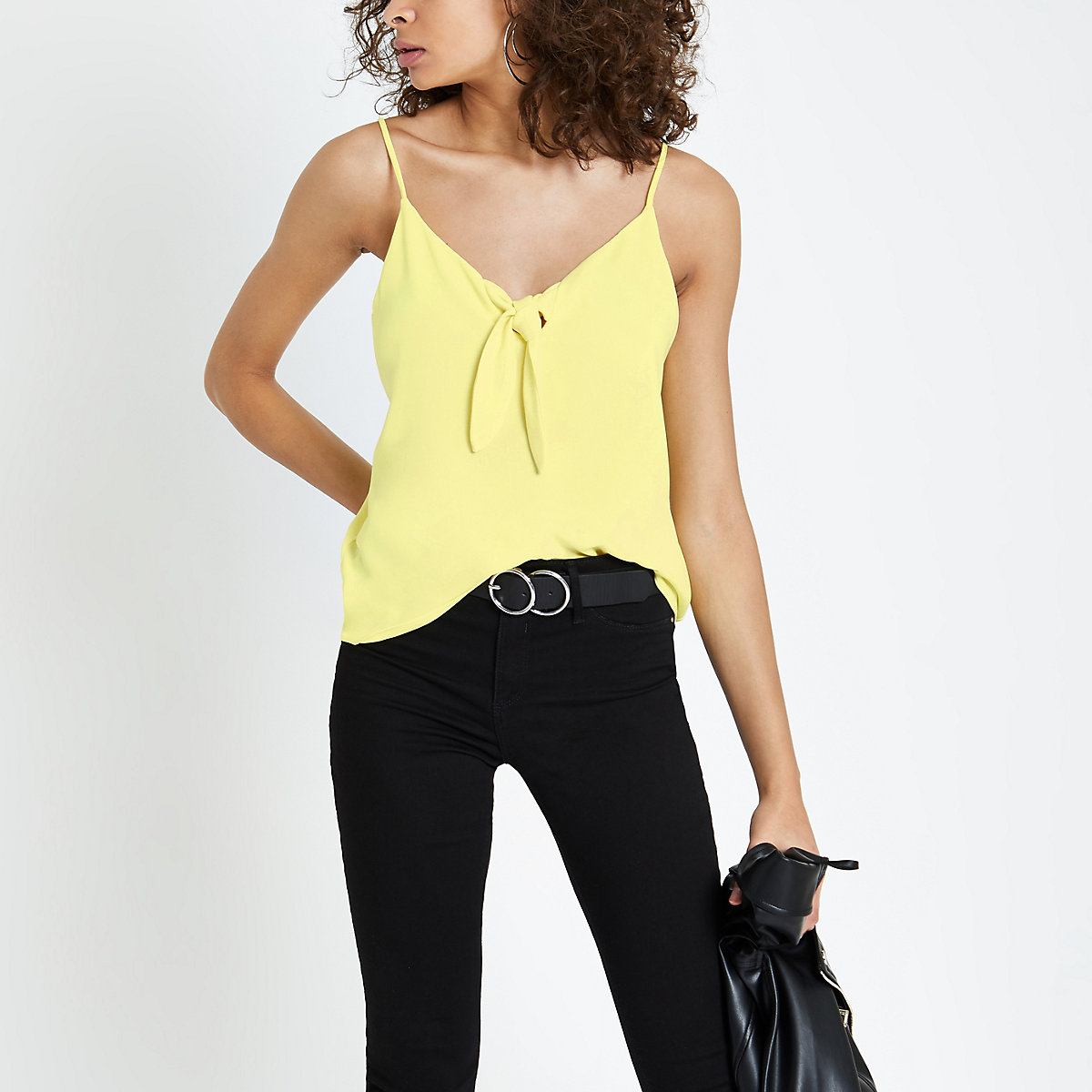 Yellow bow front cami top