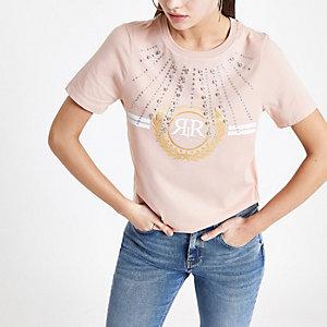 T-shirt rose à logo RI orné de strass