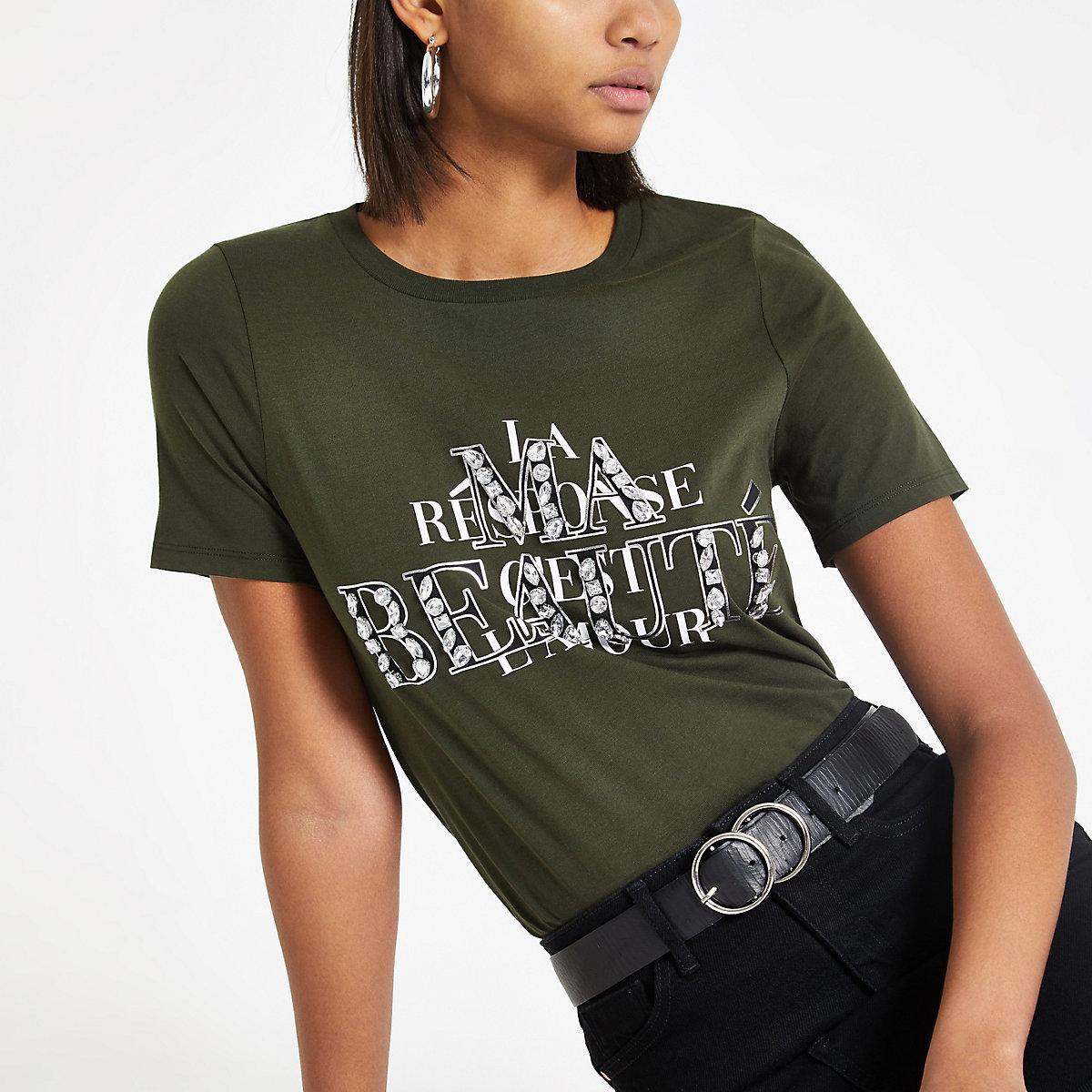 Khaki 'Ma beaute' embellished T-shirt