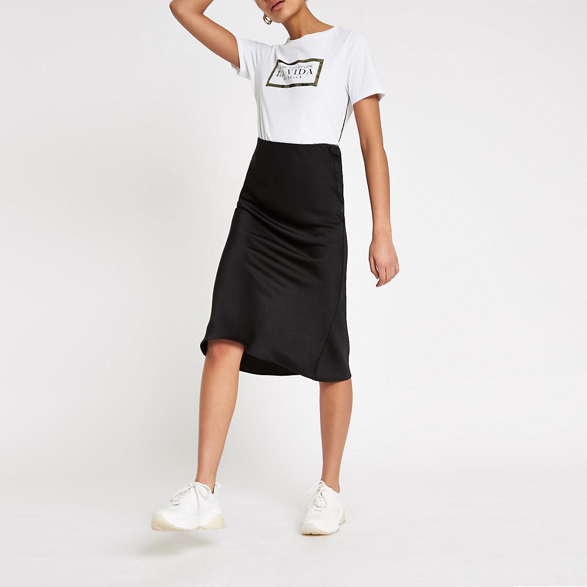 White 'La vida' camo print T-shirt