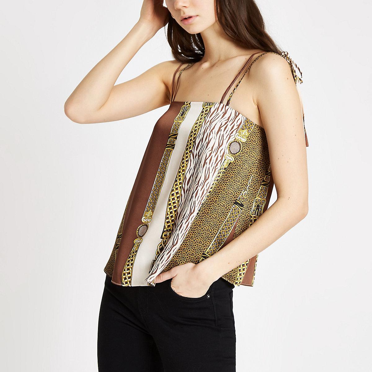 Brown chain print tie shoulder cami top