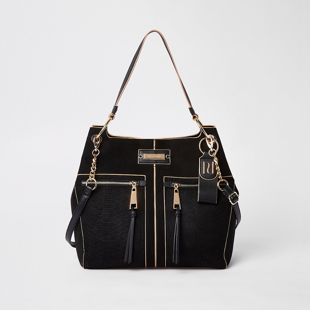 Black zip front slouch bag