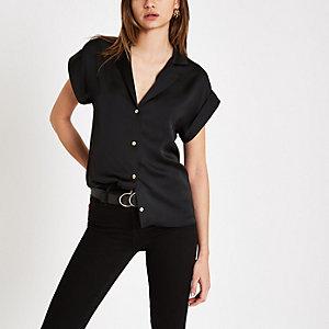 Black button front short sleeve shirt