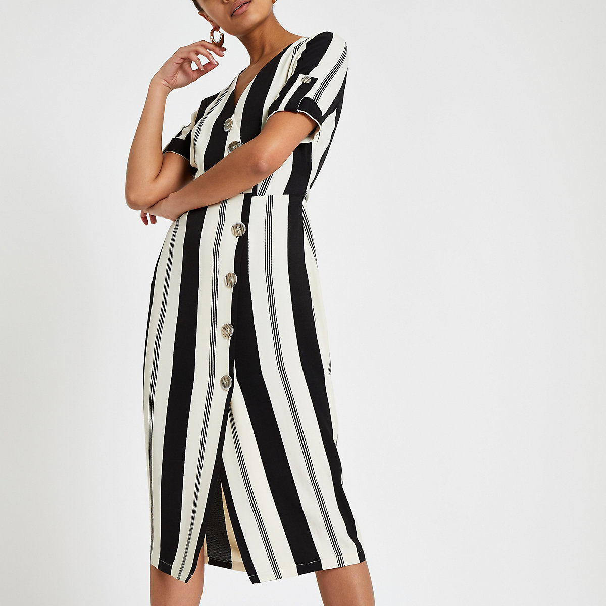 Black stripe print button front midi dress