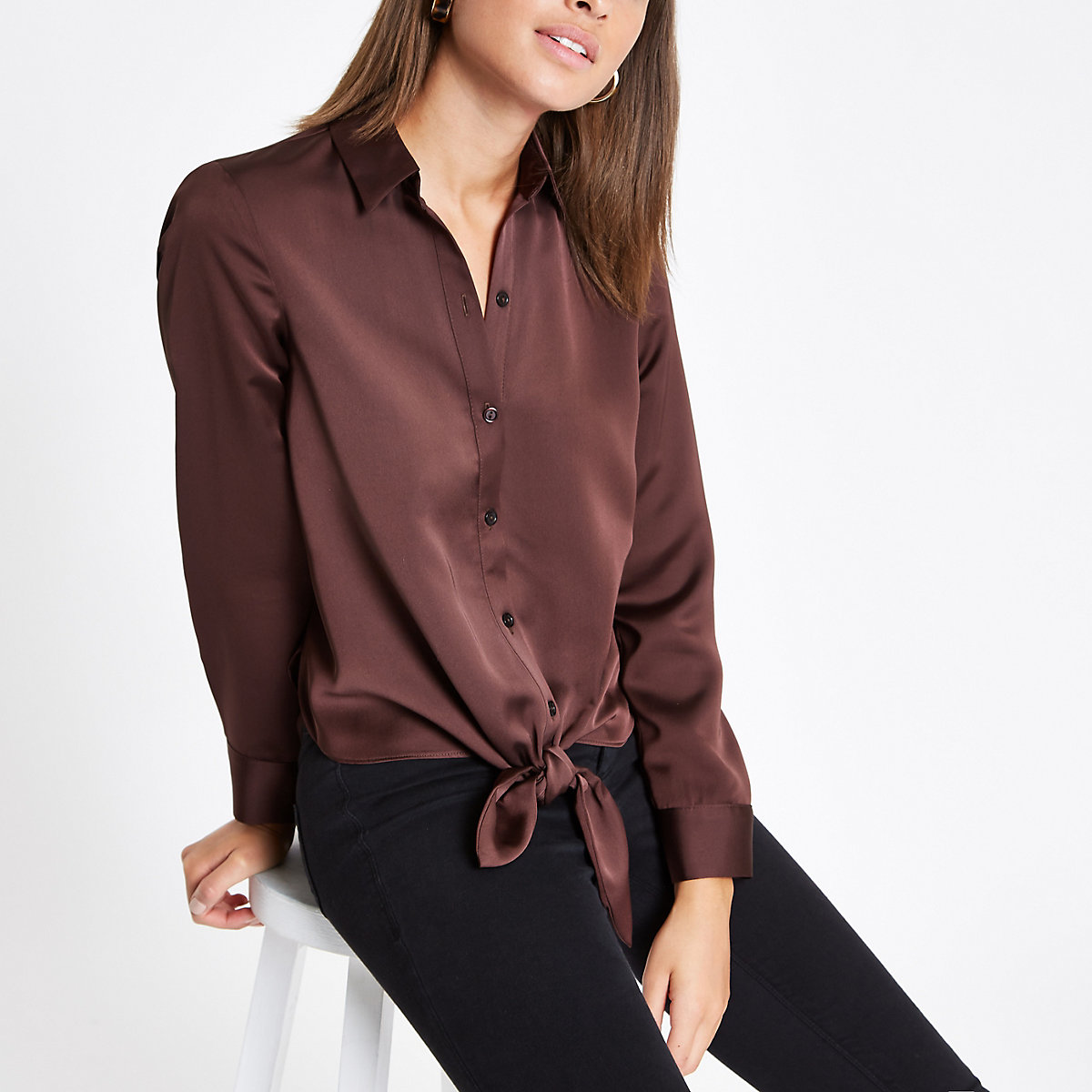 Dark brown tie front button-up shirt