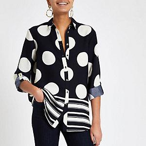 Navy spot button front shirt