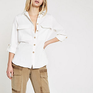 White long sleeve utility shirt