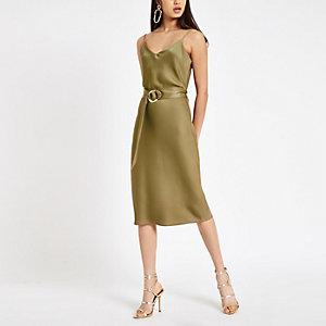 Khaki belted waist slip dress