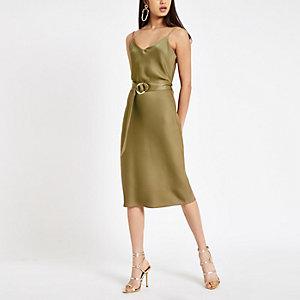 Khaki Kleid mit Taillengürtel