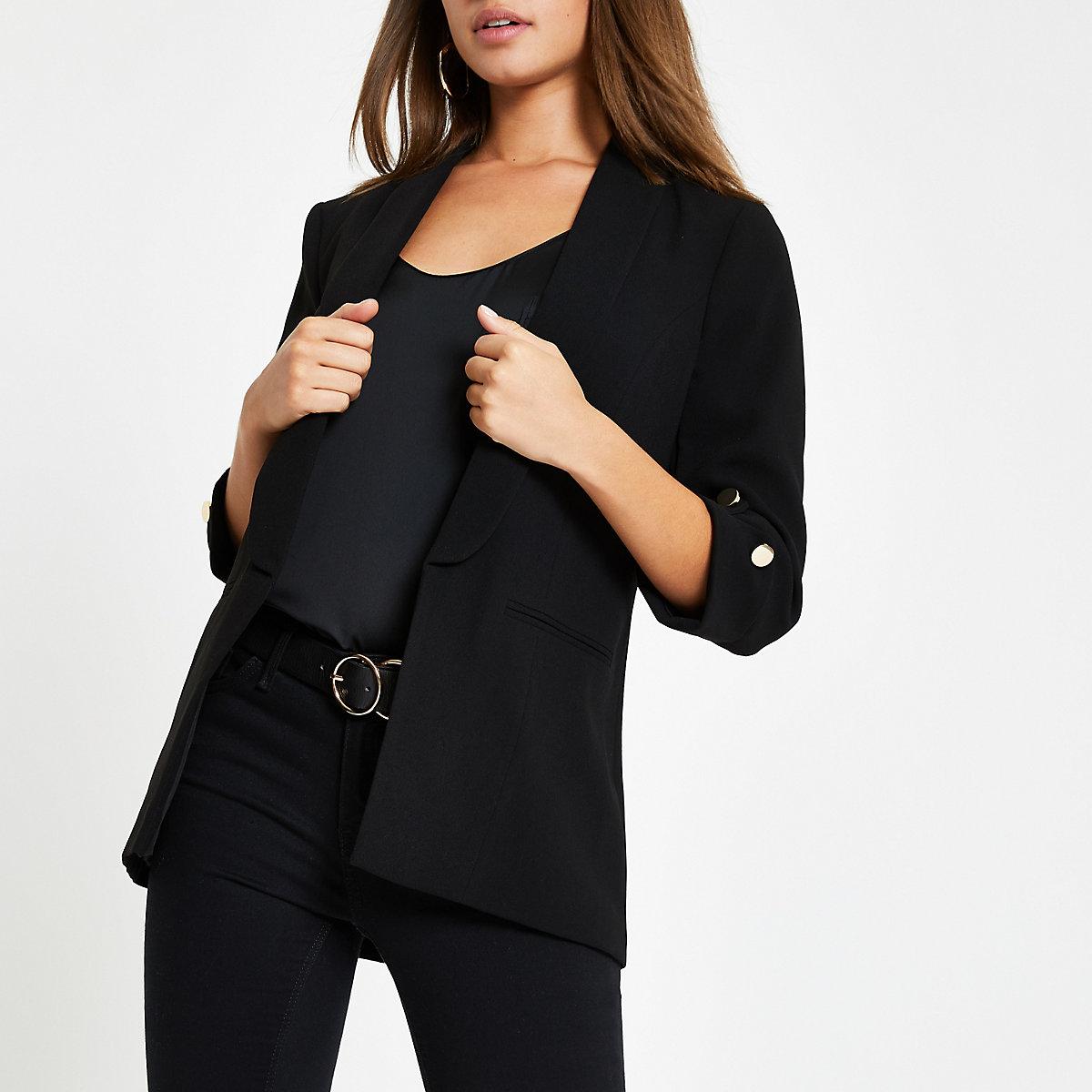 Black long sleeve button blazer