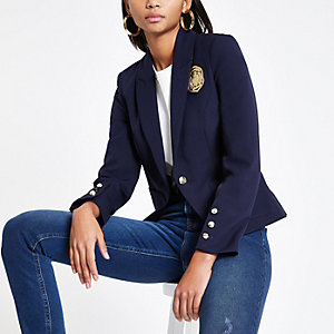 Navy short smart blazer