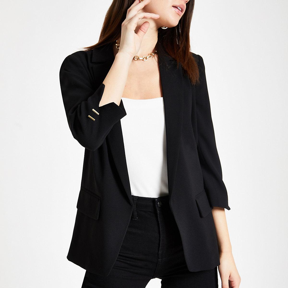 Black split long sleeve blazer