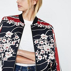 Red floral bomber jacket