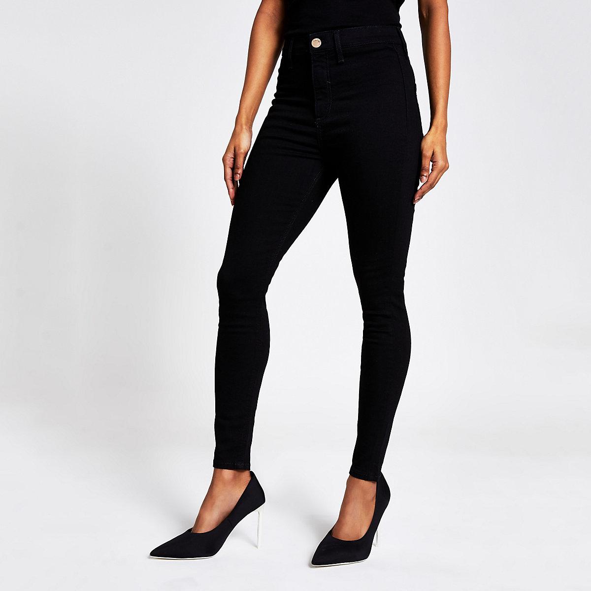 Petite black Kaia high waist disco jeans
