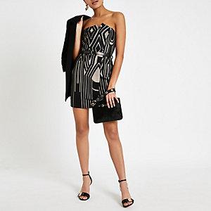 Schwarzes, bedrucktes Bodycon-Kleid