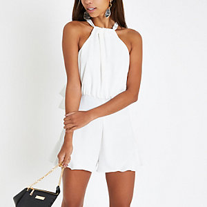 White halter neck sleeveless playsuit