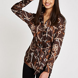 Brown satin chain print tie waist blouse