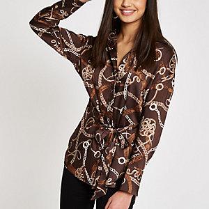 Brown satin chain print tie waist blouse