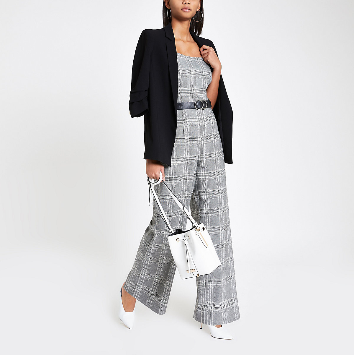 Grey check wide leg jumpsuit