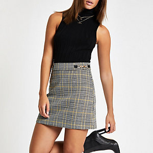 Yellow check snaffle mini skirt