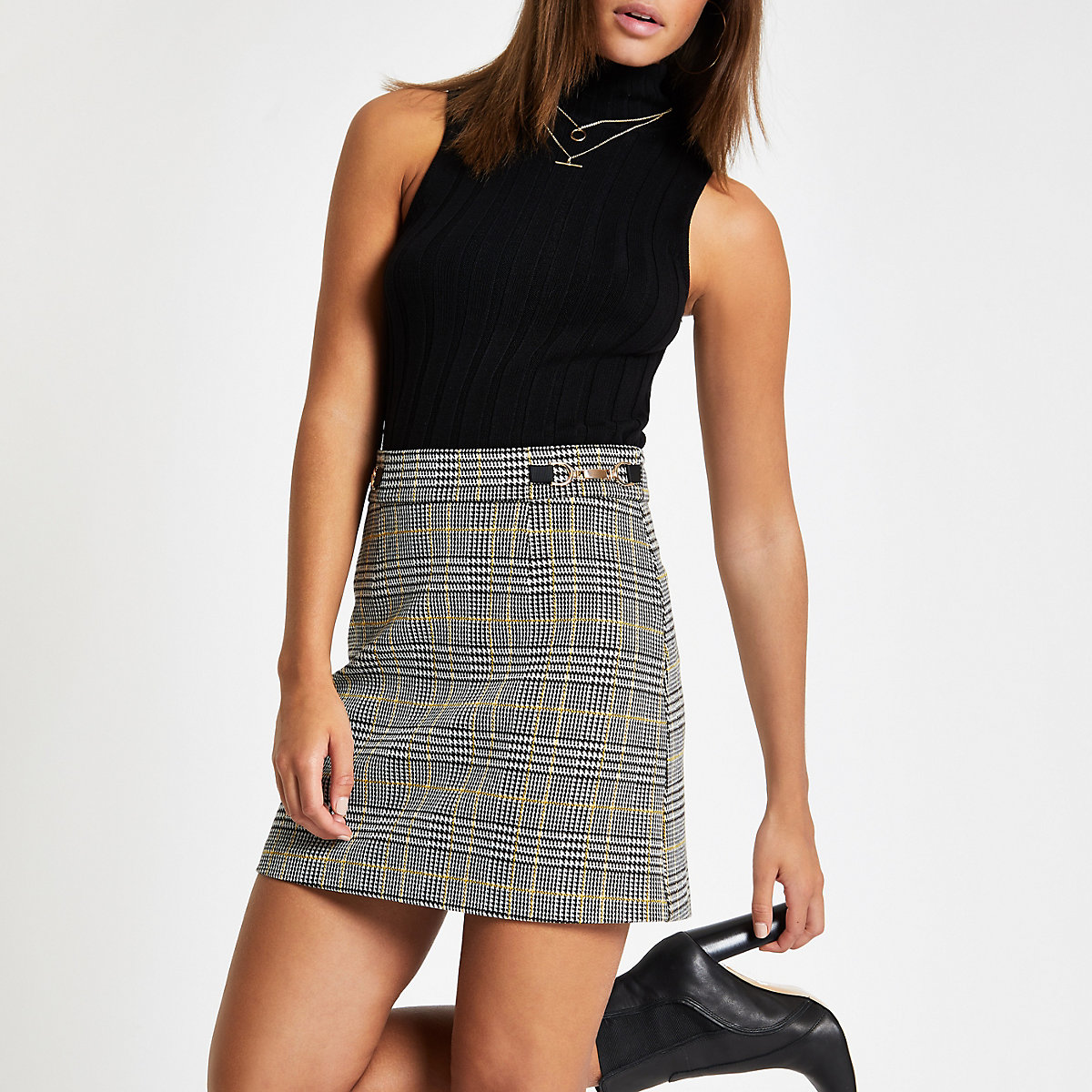 Yellow check snaffle mini skirt