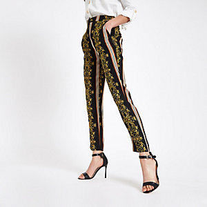 Black baroque print cigarette trousers