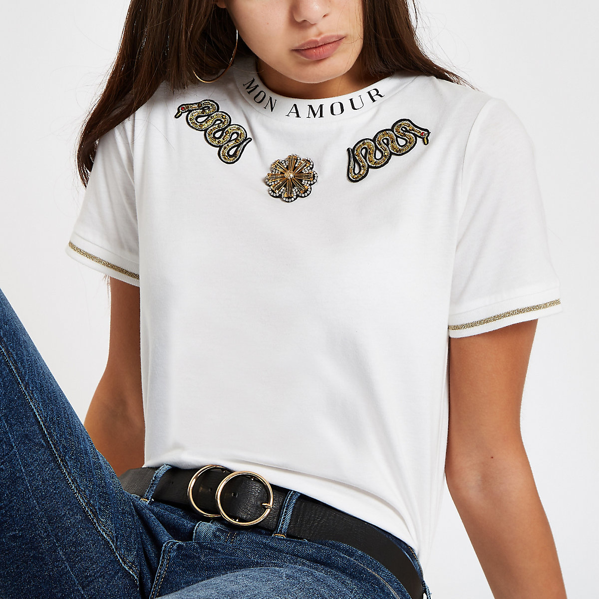 White snake embellished T-shirt