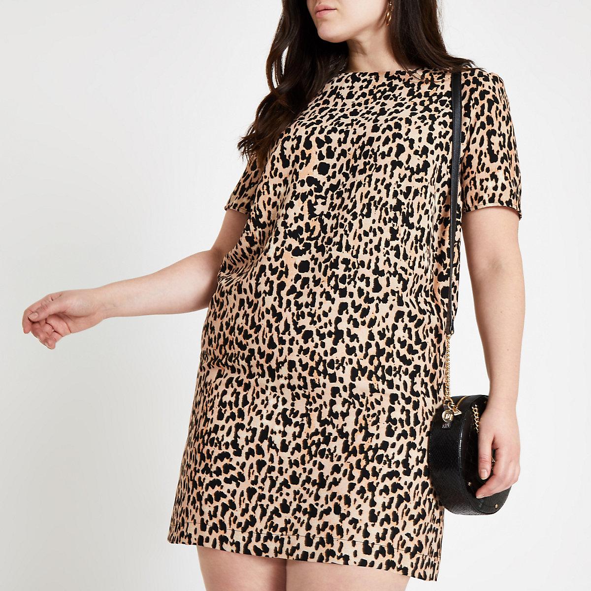 Plus brown leopard print T-shirt dress
