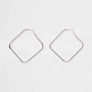 Silver colour square hoop earrings