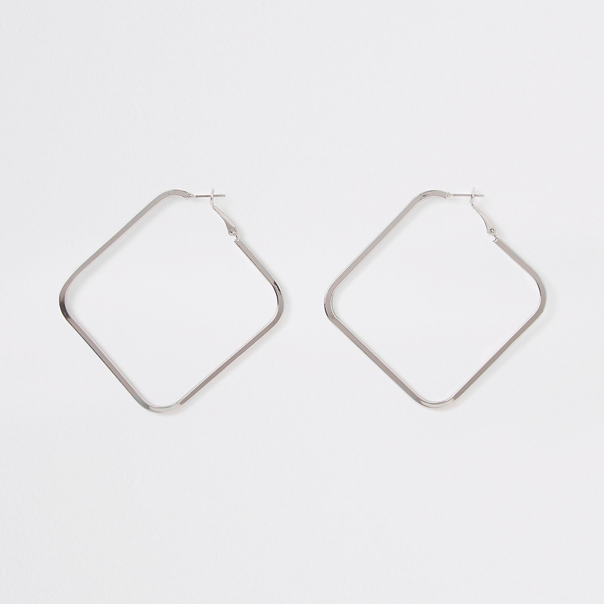 Silver colour square hoop earrings