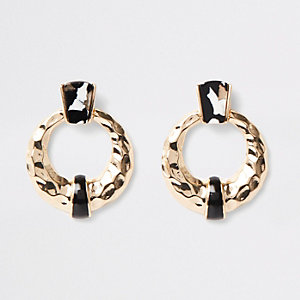 Black mono print door knocker earrings