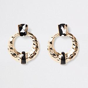 Boucles d'oreilles à anneau texturé noires et blanches