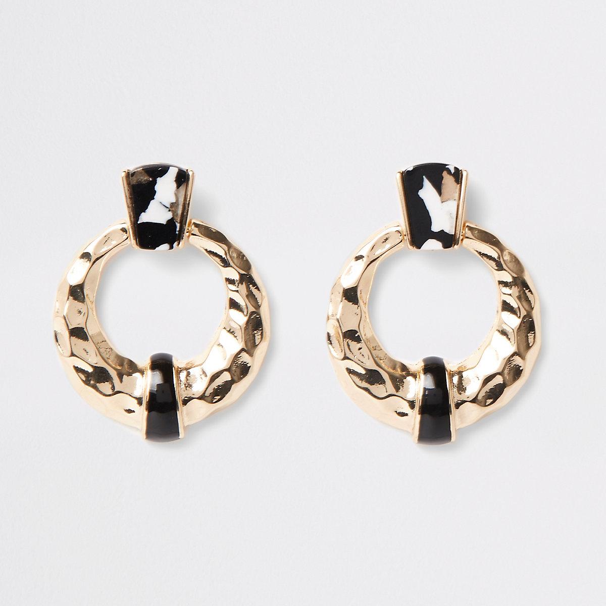 Black mono print door knocker earrings