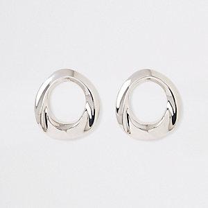 Zilverkleurige oorknopjes met ring