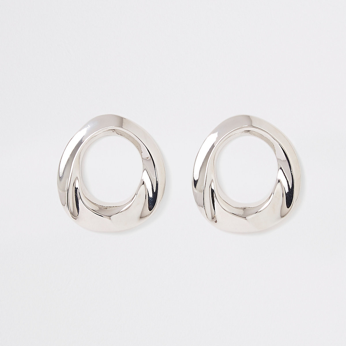 Silver color ring stud earrings