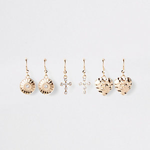 Gold color charm hoop earrings multipack