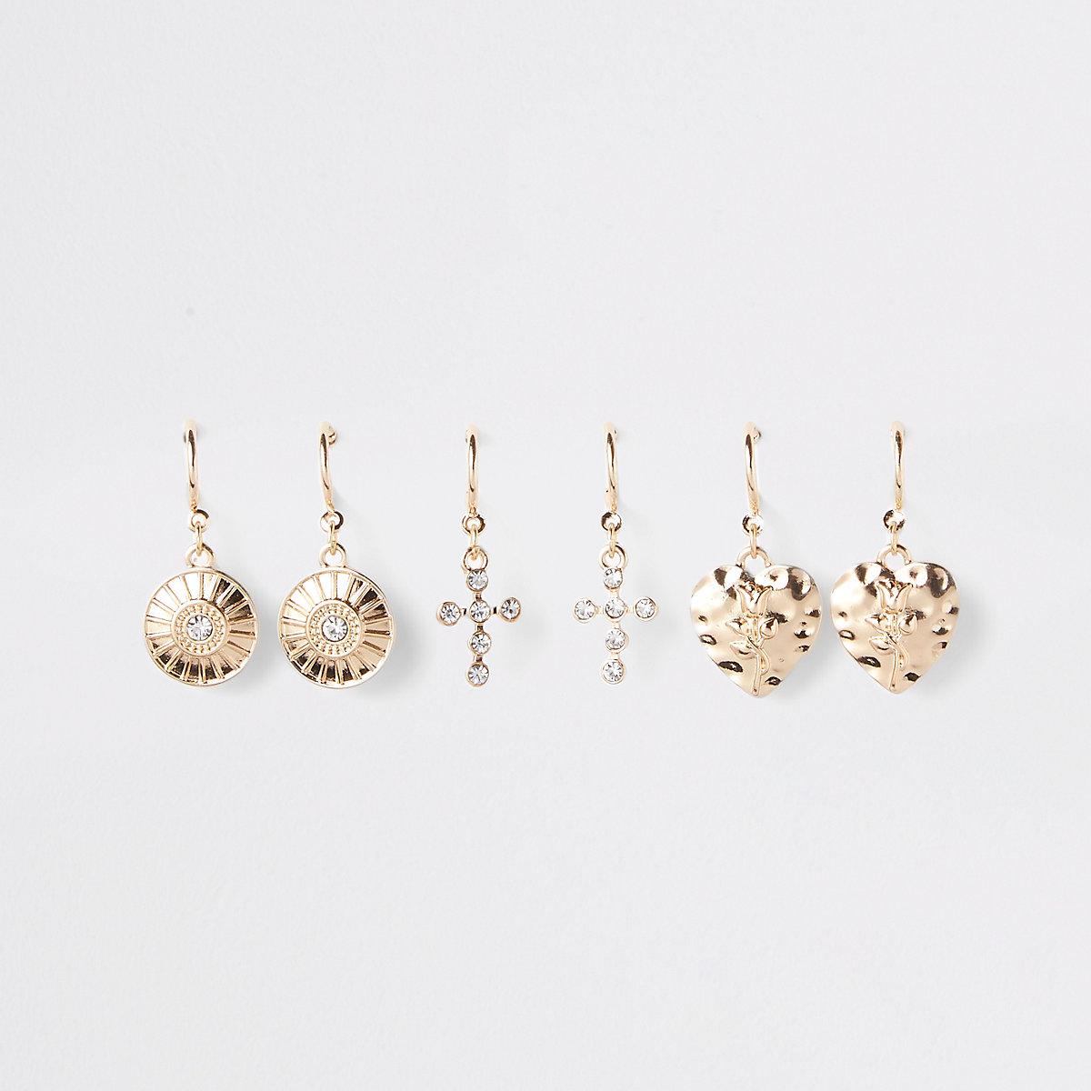 Gold colour charm hoop earrings multipack
