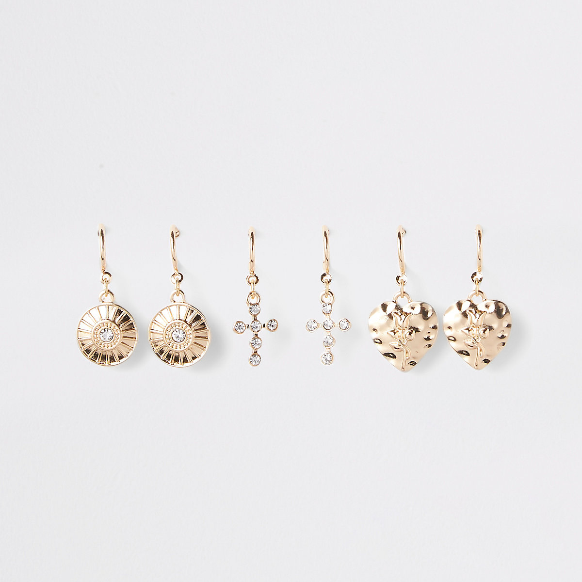 Gold color charm hoop earrings multipack