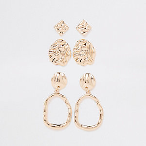 Gold tone wavy drop earring multipack