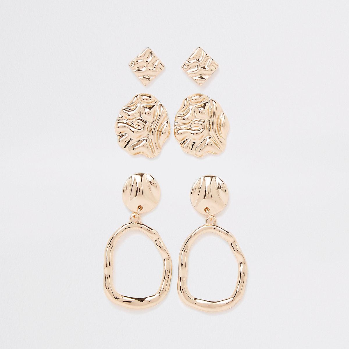 Gold tone wavy drop earring multipack